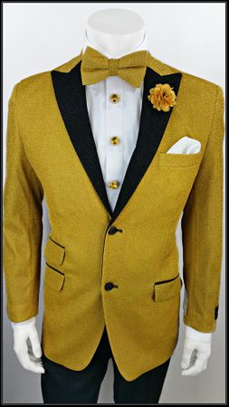 Mens Entertainer Jacket Gold Glitter Dinner Blazer A.Midnight