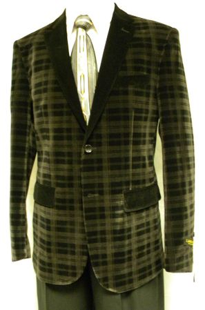 Carmashi Mens Grey Black Plaid Velvet Fashion Jacket B6082 Size 42R Final Sale