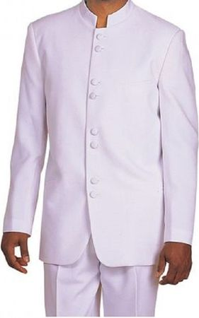 Milano Moda White 8 Button Chinese Collar Suit 5905 Size 40S and 56R Final Sale