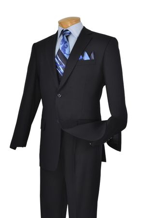 Suit for Men Navy Blue Pleated Pants Traditional Fit Vinci 2TR