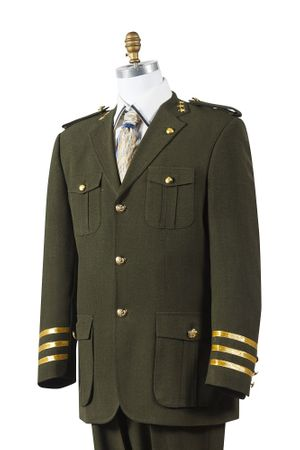 Canto Mens Olive Military Style Pocket Fashion Suit 8391