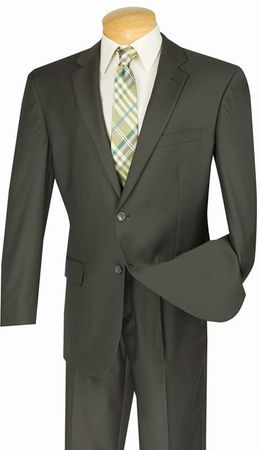 Suit for Men Olive Green Solid Color Pleated Pants Vinci 2TR
