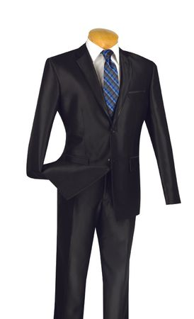 Shiny Black Slim Fit Suits Glossy Fitted 2 Button Vinci S2RR-4
