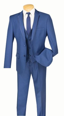Slim Fit Tuxedo with Vest 3 Piece Blue Tux SV2T-8