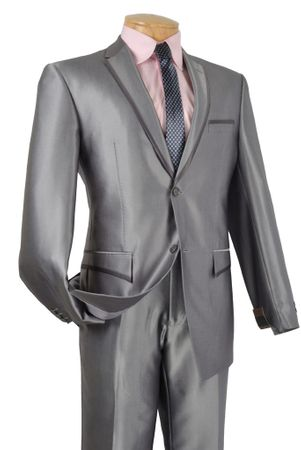 Vinci Shiny Gray Trimmed Unique 2 Button Style Slim Fit Suits S2RR-4