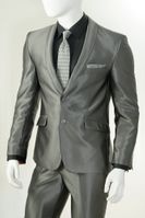 Vittorio St. Angelo Shawl Collar Shiny Slim Fit Suits Gray S61SC (IS)
