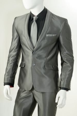 Vittorio St. Angelo Shawl Collar Shiny Slim Fit Suits Gray S61SC (IS) - click to enlarge