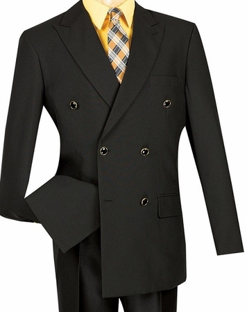 Lucci Mens Black 6 Button Double Breasted Blazer Z-DPP Size 44 Long Final Sale - click to enlarge
