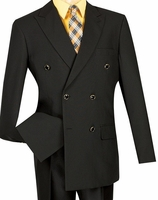 Lucci Mens Black 6 Button Double Breasted Blazer Z-DPP Size 44 Long Final Sale