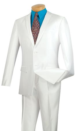 Vinci Shiny White Trimmed Slim Fit Suits Fitted Style S2RR-4