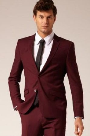 Skinny Fitted Suits Burgundy Maroon 2 Button Lucci US-2PP Size 42 Short Final Sale