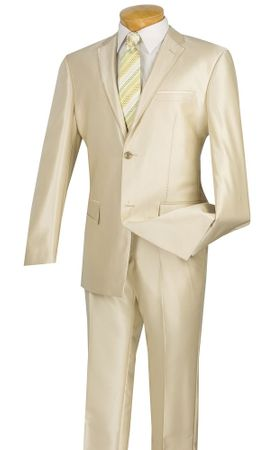 Vinci Slim Fit Suits Men's Shiny Sharkskin Beige S2RR-4