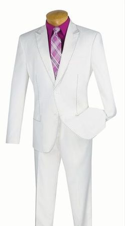 Men/'s High Fashion Contrast Stitching Wool Feel Suits with Vest and Pants Navy
