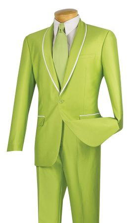 Vinci Slim Fit Suits Shiny Shawl Collar Apple Green SSH-1 - click to enlarge