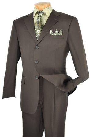 Vinci Solid Dark Olive Green 2 Piece 3 Button Suits 3RS