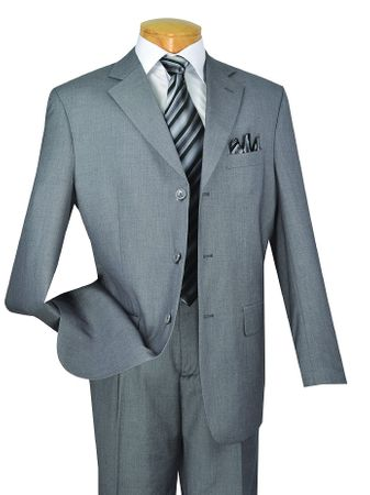 Vinci Medium Gray 3 Button 2 Piece Business Mens Suits 3RS - click to enlarge