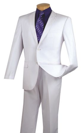 White Slim Fit Suit Mens Italian Style 2 Button Vinci NSC900-12 - click to enlarge