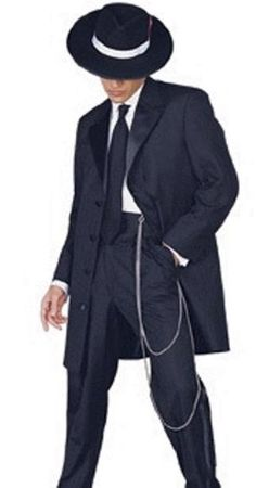 Mens Black Zoot Suit 1940s Style Tuxedo Look by Fortino T903V