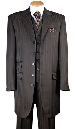 Zoot Suits for Men Brown Tonal Stripe 3 Piece Fortini 29198 - click to enlarge