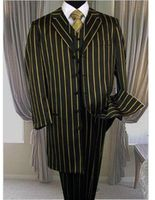 Zoot Suits Men's Black Gold Stripe 3 Piece 1940s Alberto Zoot-200