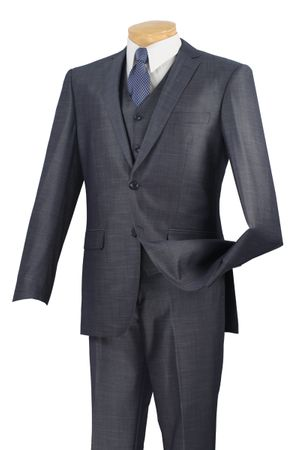 Slim Fit Suits Vinci Men's Silk Style Blue 3 Piece SV2R-2 - click to enlarge