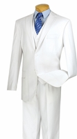 Vinci White 3 Piece Suit for Men 2 Button Jacket V2TR