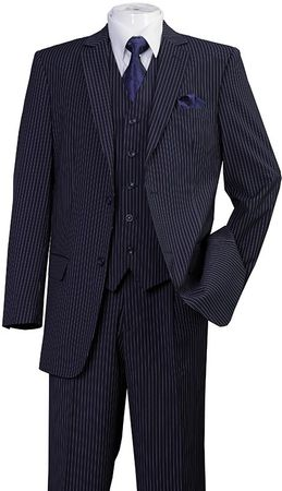Men's 3 Piece Suit Navy Pinstripe Regular Fit Fortini 5702V8