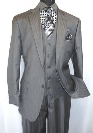 Vinci Zegna Style Men's Gray Shadow Stripe 3 Pc. High Side Vents V2TT-8  - click to enlarge