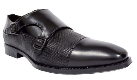 Antonio Cerrelli Mens Black Double Monk Strap Dress Shoes 6670