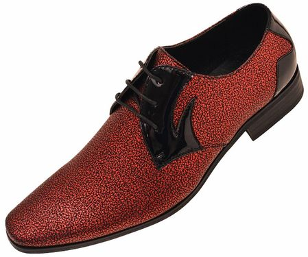 Amali Men's Red Glitter Tuxedo Dress Shoes Dazzler 005