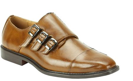 Antonio Mens Tan 3 Buckle Dress Shoes Italian Style 6679