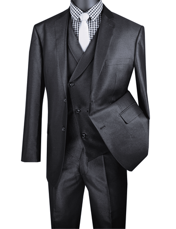 Men's Tailored Fit Black Sharkskin Suit with Slant Vest Vinci MV2R-1