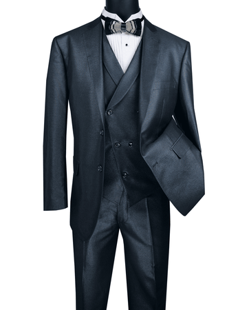 Men's Tailored Fit Blue Sharkskin Suit with Slant Vest Vinci MV2R-1