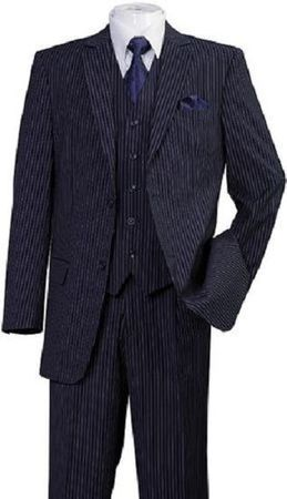 Men's 3 Piece Suit Navy Pinstripe Regular Fit Fortini 5702V8 Size 50R Final Sale