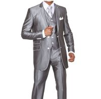Slim Style Man Suit by Milano Moda Fancy Grey Shiny 3 Piece 5702V1