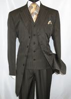 Men's Brown Zoot Suit Tone on Tone Stripe 3pc Fortino 29198 Size 46 Long Final Sale