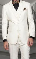 Men's Ivory Modern Fit Wool Suit 3 Pc. Flat Front Style Statement STZV-100 Size 44 Reg Final Sale