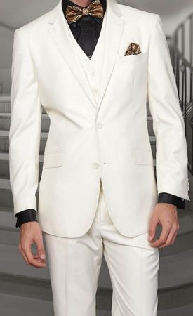 Men's Off White Modern Fit Wool Suit 3 Pc. Flat Front Style Statement STZV-100 Size 44 Reg Final Sale