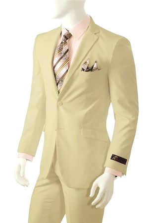 Vittorio Men's Beige Color 2 Button Basic Suit A72TE - click to enlarge