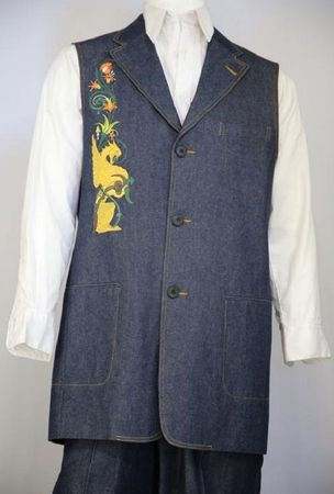 Canto Mens Blue Medieval Dragon Embroidered Pattern Denim Long Vest Outfit 9082