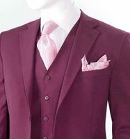 Modern Fit Suit for Men Burgundy 3 Piece Italian Style T62W