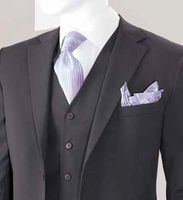 Men's Modern Fitted Solid Charcoal 3 Piece Suit Pleat Pants T62W