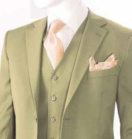 Men's Solid Khaki Beige Modern Fit Suit 3 Piece Pleated Pants T62W