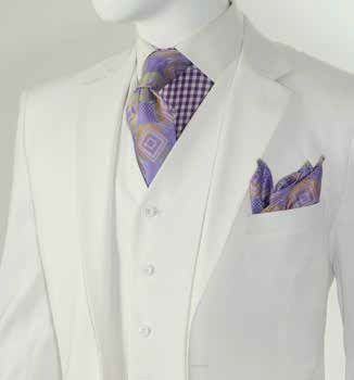 Mens White Modern Fit Style 3 Pc. Suit Side Vents T62W