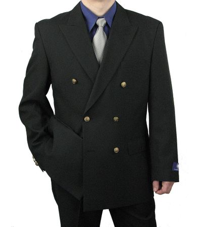 Vittorio Mens Black Double Breasted Classic Blazer Z76B - click to enlarge