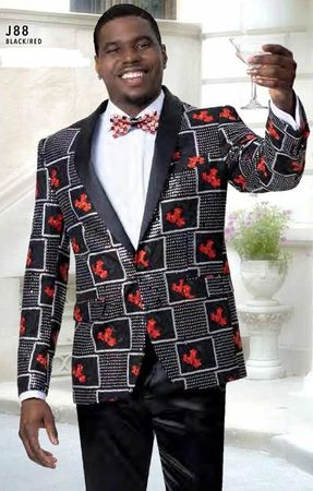 Fashionable Blazers Men's Black Red Fancy Pattern EJ Samue J88