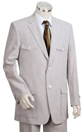 Canto Mens Military Style Seersucker Suits 8345 42R Final Sale