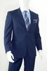 Mens Modern Fit Suit Navy Blue 2 Button Flat Pleated Pants Vittorio A62W