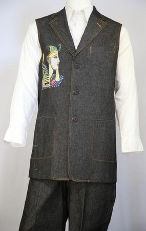 Canto Mens Black Egyptian Embroidered Pattern Denim Long Vest Outfit 9081