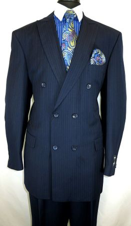 Milano Men's Navy Blue Stripe Double Breasted Suit 5911B
